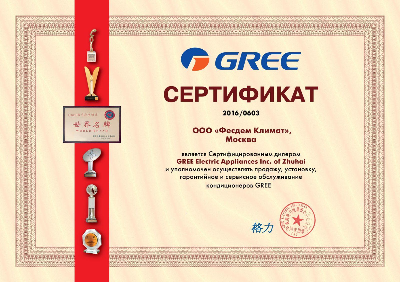 Сертификат GREE